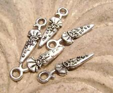 Antiqued Silver ptd Umbrella Charms, Double sided, 25x6mm, 5 Qty