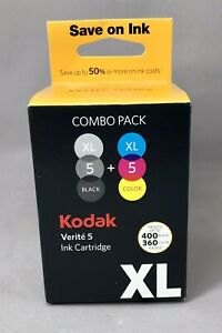 5 XL Black & Color Combo Ink Cartridge for Kodak Verite Printers Fast Drying NEW