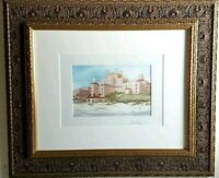 """Signed Framed Matted Gene Rizzo Watercolor Print """"Don CeSar"""" St. Petersburg  Fl."""