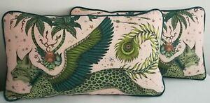 Emma J Shipley LYNX PINK LINEN cushion,**FREE INNER PAD** 60CM X 38CM