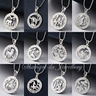 18K White Gold GF SILVER Zodiac Star Sign Horoscope Love Pendant Necklace GIFT