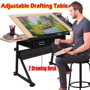 Adjustable Drafting Table Art Craft Drawing Desk 2 Drawers+Stool Architect Desk