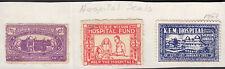 INDIA 1951 THREE RARE UNUSED KEM HOSPITAL LABELS