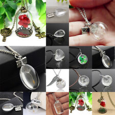 Glass Necklace Flower Dandelions Charm Heart Pendant Chain Jewellery Women Men