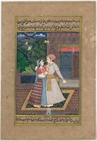 Hand Painted Mughal Miniature Painting Of Emperor And Empress Love Scene Finest