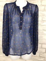 Lily White Blue Mushroom Print Sheer Flowy Chiffon Blouse Size Small
