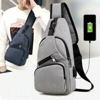 Men Canvas Sling Bag Chest Crossbody Messenger Shoulder Travel Sports School Bag
