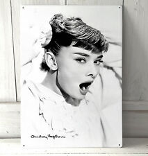 AUDREY HEPBURN verticale A4 PLACCA in metallo shabby chic PICTURE HOME DECO tin sign
