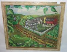 Mid Century Folk Art Ölgemälde Große Farm Szene Unterzeichnet & Datierter