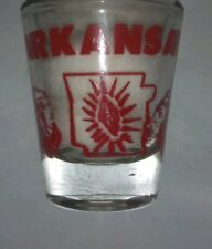 ARKANSAS STATE Map Red Vintage SHOT GLASS Razorback