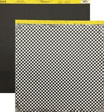 2 Sheets 12x12 Scrapbook Cardstock Paper Asphalt Black Racing Checker  RSI-013