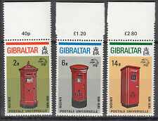 Gibraltar Nr. 310A-312A** 100 Jahre Weltpostverein (UPU)