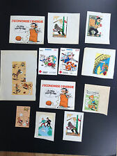 Lot d'autocollants divers BD Tintin Gaston Lagaffe Astérix Boule Bill Lucky Luke