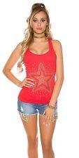 Damen Koucla Tanktop Shirt Top mit Glitzersteinen und Nieten