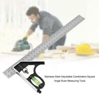 """300mm(12"""") Adjustable Engineers Combination Try Square Right Set Angle Rule U2C4"""
