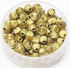 5 MM  BRASS CORRUGATED BI-CONE SEAMLESS  BEADS 200 PCS.SOLID RAW BRASS (305-J-5)