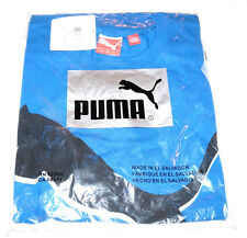 Men's PUMA T-SHIRT Black Street Cat Logo Tee Shirt Blue SMALL S 100% Authentic