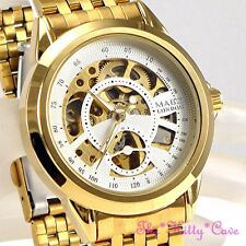 Automatic Mechanical Skeleton Steampunk 2tone Gold Gents Ladies Men Unisex Watch