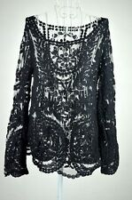 Women's Lady Semi Sheer Sleeve Embroidery Floral Lace Crochet T-Shirt Top Blouse