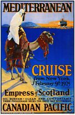 1925 Mediterranean Cruise New York Canada Canadian Travel Advertisement Poster