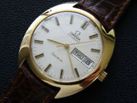VINTAGE  MEN'S  OMEGA  GENEVE   DAY  DATE  AUTOMATIC 18K   CAL 1022   SERVICED