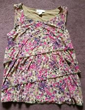 Women's Petite Small Green & Pink Floral Sleeveless Coldwater Creek Top