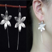 925 Silver Plated Long Drop Dangle Tassel Hook Earrings Ear Women Jewelry Charm