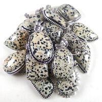 Wholesale Lot !! 20  PCs Dalmatian Jasper Gemstone Silver Plated Pendant Jewelry