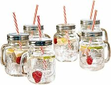 New listing Mason Jar Mugs with Handle and Straws Old Fashioned Drinking Glass Set 6