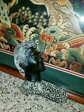 Rare vintage Beauties with Black Coral Man Wall Hanging-Made in Hawaii Islands