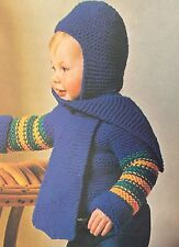 Ck6 - Knitting Pattern For Unique Children's Scarf And Hood Hat In One - Baby's