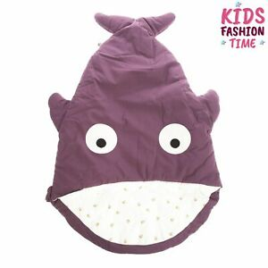 BABY BITES Baby Sleeping Bag Shark Shape Padded Logo Detail Zipped Side