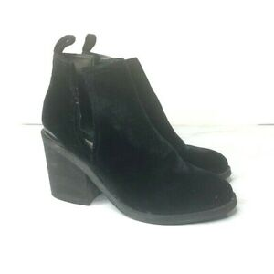 Steve Madden Size 8.5 Sharini Black Velvet Booties Stacked Heel 3 Inch Heel