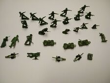 """Vintage Lot of 28 Green Toy Soldiers/Tanks Approx 1"""" Miniatures"""