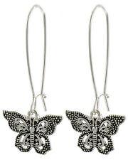 Butterfly Silver Tone Drop Dangle Women Long Hook Fashion Earrings