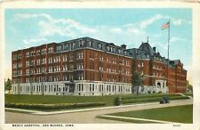 Des Moines Iowa~Mercy Hospital~Mansard Roof~Dormer Windows~1920s Postcard