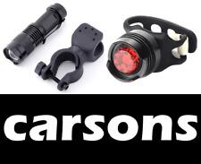 mini zoom alloy front & rear silicone LED lights set torch lantern light bike UK