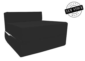 Cotton Twill Z Bed Single Size Fold Out Chairbed Foam Folding Guest Sofa - Black