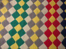 Vtg Hand Crochet Diamond Pattern AFGHAN BLANKET THROW GLAMPING Multi Color 62X92