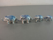 ELEPHANT FAMILY WHITE BLUE PORCELAIN TRUNK UP INDONESIAN HAND PAINTED SET OF 4