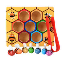 Clamp Bee to Hive Matching Game Wooden Hive Games Montessori Teaching Education