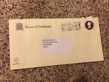 Gb postal stationery envelope Es160a Sto House of Commons used 1996 (S571)