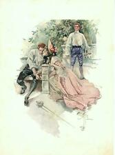 Harrison Fisher -  Romance  -  Duel  - Fencing  - Victorian Antique Print - 1907