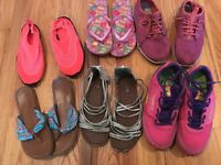 Lot 6 Pairs of Girl's Shoes Sneakers Flip Flops Water Shoes Sandals Size 5 to 6