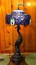 """PEACOCK TIFFANY STYLE STAINED GLASS SIMULATED JEWELED RESIN TABLE LAMP 28"""" TALL"""