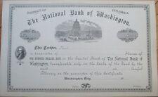 1900 Stock Certificate: National Bank of Washington, DC - Capitol - DOC