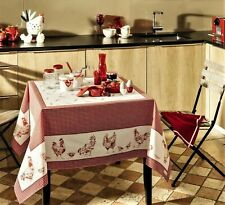 "BEAUVILLE, LES POULES (HENS) FRENCH SATIN COATED COTTON TABLECLOTH, 59"" X 83"""