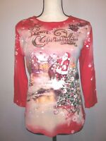 STUDIO GEM Q Womens Size S Red Santa Claus Merry Christmas 3/4 Sleeve T-Shirt