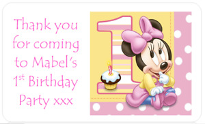 PERSONALISED PARTY BAG FAVOUR STICKERS DISNEY BABY MINNIE MOUSE 1ST BIRTHDAY