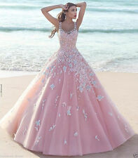 2018 Plus Size A Line Beach Pink Flowers Wedding Dress Bridal Gown Custom 4-26+